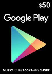USA Google Play 50 Dolāru Dāvanu Karte