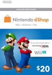 USA Nintendo 20 Dolāru eShop Dāvanu Karte