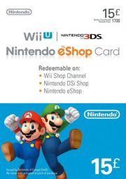 UK Nintendo 15 Mārciņu eShop Dāvanu Karte